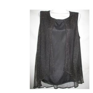BLOUSE SLEEVELESS TOP XL BLACK EXTRA LARGE PLUS